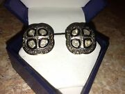 1778 Usd Naturale Diamond Stumped 925 Silver And Yellow Gold Plated  Earrings