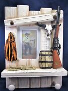 Western Rustic Picture Frame W/ Rifle Steer Skull Barrel Rope Hand Made Wood
