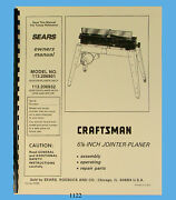 Sears Craftsman 6jointer 113.206801 And 113.206932 Operating And Parts Manual 1122
