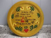 Antique Vintage Folk Art Woodcroftery 12 Plate Country Kitchen Scene, Old Stove