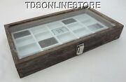 Rustic Antique Coffee Color Glass Top Display Case Holds 20 Lighters White