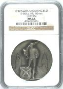 Swiss 1930 Silver Medal Shooting Fest Luzern Knight Ngc Ms65 Mintage-250 R-904a