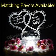 Led Double Heart Shaped Lighted Wedding Cake Topper Acrylic Top Custom Engraved