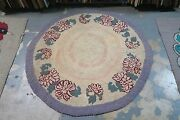 Primitive Vintage American Hand Made Hooked Rug Cotton On Burlap - 50 Round