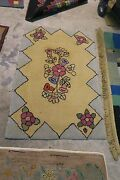 American Primitive Vintage Hand Made Wool Shabby Chic Hooked Rug 46 X 30