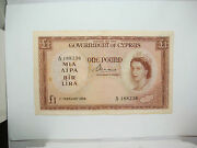 Cyprus 1956 - 1 Pound Banknote - Serial A/17 188236 - Rare Beautiful Condition