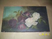 Old Painting Red Roses White Roses 1920s Vintage Unsigned Unknown Done Well Rare