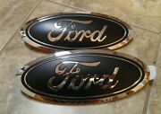 2015-17 Ford F150 Grill And Tailgate Emblem Custom Matte Black Pair Combo New