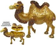 Camel Two Hump Jeweled Trinket Box With Crystals, By Rucinni