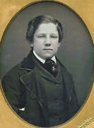 1/9 Plate Daguerreotype Photo Portrait Of A Boy And Young Man By Holmes, New York
