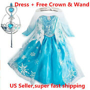 Classic Princess Elsa Dress Cosplay Party Dress Up + Free Crown And Wand
