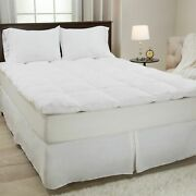 Lavish Home 100 Duck Feather Gusset Bed Topper 2 Inches Baffle Box