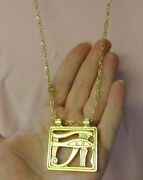Vtg Gold Plated Egyptian Revival Pendant Crown Trifari Chain Necklace