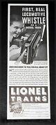 1935 Old Magazine Print Ad, Lionel Model Trains, First Real Locomotive Whistle