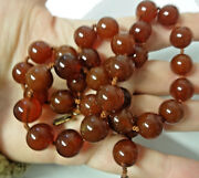 Antique Art Deco Chinese Large Carved Carnelian Silver Clasp Long Necklace Rare