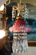 Vintage Swag Fenton Cranberry Jelly Fish Insp. Glass Hanging Brass Lamp Crystal