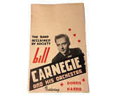 1950's Bill Carnegie And His Orchestra Featuring Dorris Harris Poster/ad Rare