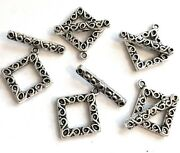 5 Sets Antique Silver Pewter Diamond Toggle