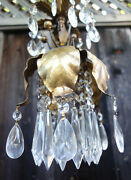 Vintage Gilt Tole Brass Mini Italy Lily Florentine Swag Lamp Chandelier