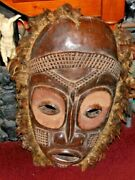Antique African Hand Carved Tribal Mask Feather Rim Extremely Large Ape Like