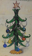Vintage Art Glass Decoration Christmas Tree With Hanging Ornaments