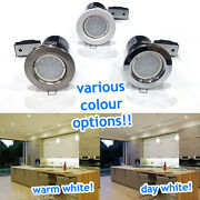 10 X 5w Led Fire Rated Ceiling Downlighters Spot Lights Downlights Gu10 Brushed