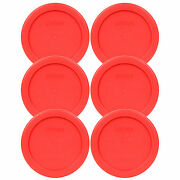 Pyrex 4 Storage Plastic Red Lid Storage Cover 6pk For 1 Cup Bowl Dish 7202-pc