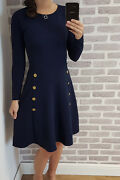 Womenand039s Military Button Skater Swing Dress Long Sleeve Ladies Uk 8-28 Plus Size