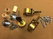 New Set Of 3 Brass Grand/baby Grand Piano Casters/wheels 1 3/4 Wheel