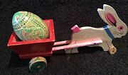 Vintage Easter Wooden Wheeled Wagon Cart,ukranian Egg Pulled By Bunny Rabbit