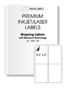 1000 Sheets 4000 Labels Blackout 3.5 X 5 Fast Peel White Address Shipping 4up
