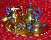 Miniature Tea Set - Rare Blue Handle And Gold Porcelain - Tray And Sterling Spoon