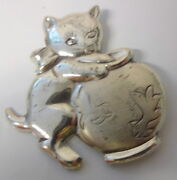 Vintage Signed Beau Sterling Silver Kitten And Fish Bowl Play Cute Pin Brooch