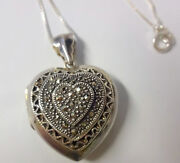 Vintage Mark Mt Sterling Silver Marcasite Puffy Heart Locket Pendant Necklace