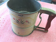 Ft4 Vintage Androck Hand-i-sift Metal Flour Sifter Off-white Flowers 3 Screens