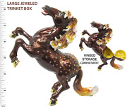 Large Stallion Jeweled Trinket Box With Crystals, By Rucinni