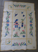 Quilt Baby Hand Made Appliquandeacute 1936 Boy Girl Fishing Museum Quality Maker Tag