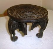 Handmade Wooden Elephant Round Table Flower Pot Stand Table Decor Diwali Gift