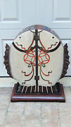Antique Chinese Doble Door Drum Shape Hand Painted Cabinet Dragon Andcarp Motif 2