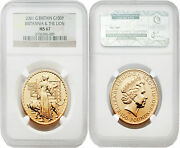 Great Britain 2001 Britannia Una And The Lion 100 Pounds 1 Oz Gold Ngc Ms67