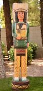 Cigar Store Indian 6and039 Chief Green Shirt 6 Ft Gallagher Wooden Sculpture W Knife
