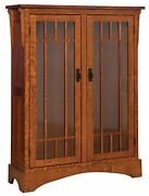 Amish Midway Mission Craftsman Solid Wood Bookcase Glass Doors 46w X 60h