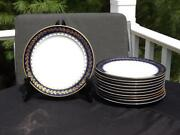 11 M Redon Limoge Blue And Gold Salad Plates 7 1/2 Green And Blue Marks