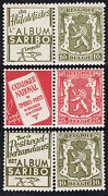3 Belgium Mint Stamp Pairs With Advertising 2 X Saribo And Red Catalogue National