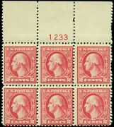 Us 527 2andcent Carmine Type V Plate No. Block Of 4 W/missing Digit In Plate No.