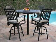 Heaven Collection Outdoor Cast Aluminum 5 Piece Bar Set With 4 Swivel Bar Stools