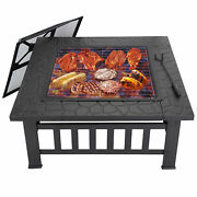 Outdoor 32 Bbq Grill Brazier Metal Patio Heater Firepit Stove Fire Pit W/cover