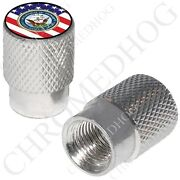 Silver - Billet Aluminum Custom Valve Caps For Motorcycle And Cars - Usn Navy Flag