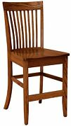 Amish Arts Crafts 24 Stationary Counter Height Bar Stool Wood Set 3 Shelby
