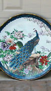 Early 20 C Chinese Impressive Large Peacock Cloisonne Charger 25 Diam.